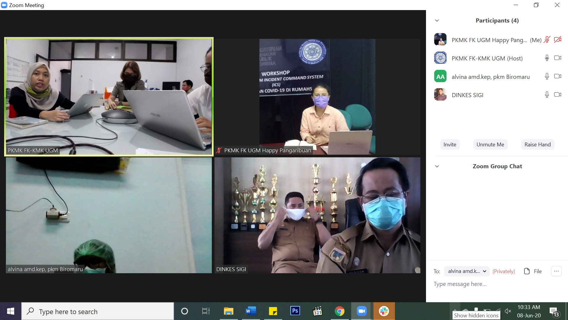 Zoom Meeting Diskusi Daring Update Penanganan Covid-19 Di Puskesmas Kabupaten Sigi Sulawesi Tengah