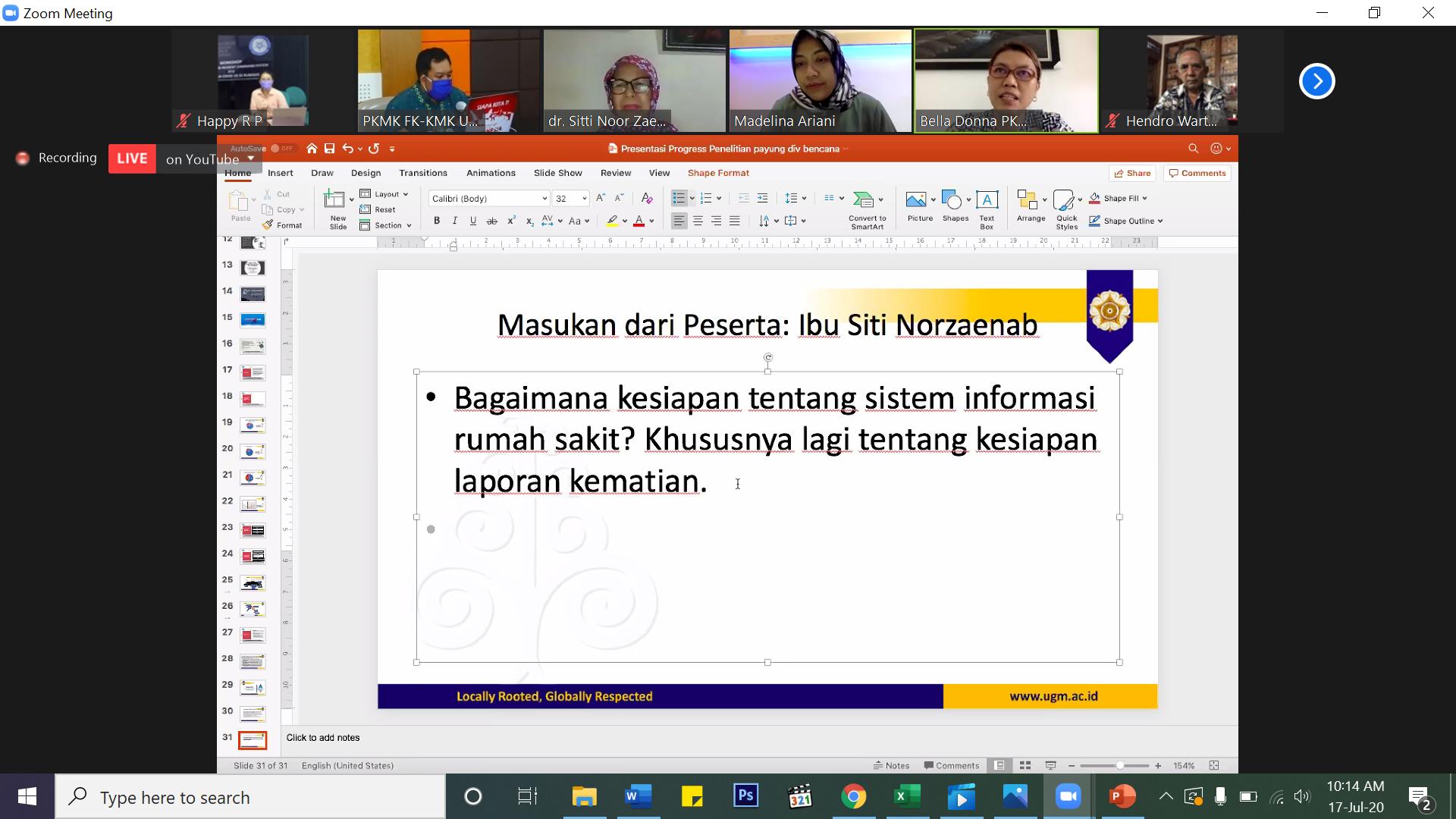 Presentasi Progress Proposal Penelitian Kajian Kesiapsiagaan Rumah Sakit Dalam Menghadapi Pandemi COVID-19 Berbasis Sistem Komando di Wilayah DIY dan DKI Jakarta